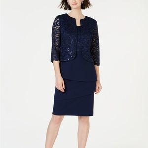 Alex Evenings Sequin & Lace Short Jacket & Dress